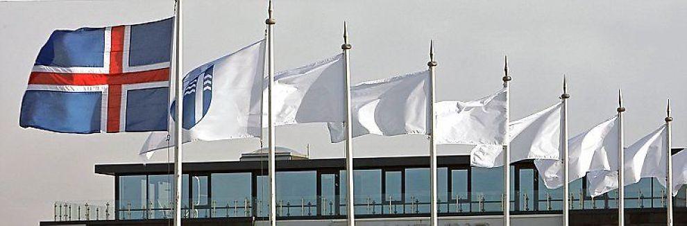 <b>I VINDEN:</b> Det islandske flagget vaier over hovedkvarteret til den kollapsede banken Kaupthing.