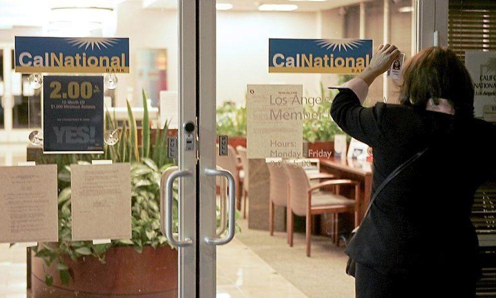 <B>STENGER BANK:</B> California National Bank stenges av amerikanske myndigheter.