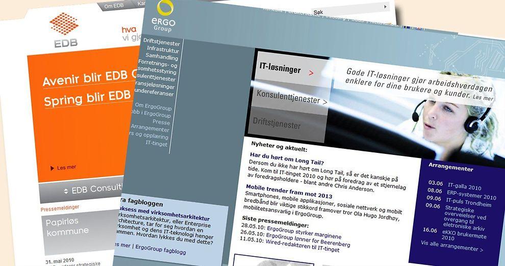 <b>VURDERER FUSJON:</b> EDB Business Partner og Ergo Group.