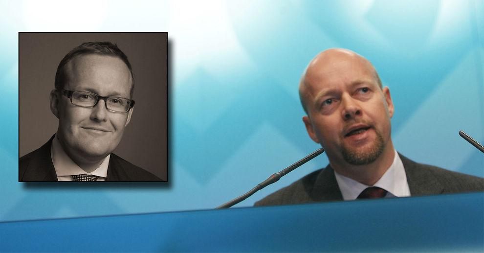 -GLEMMER RISIKOEN: Investeringssjef Richard Stott i Connectum (innfelt) mener Yngve Slyngstad fører en svak argumentasjon.