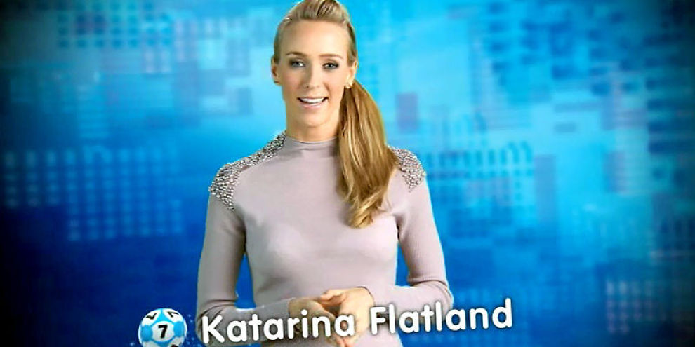 TIRRER PÅ SEG NORSK TIPPING: Eurolotto bruker Katarina Flatland for å markedsføre lottospill.