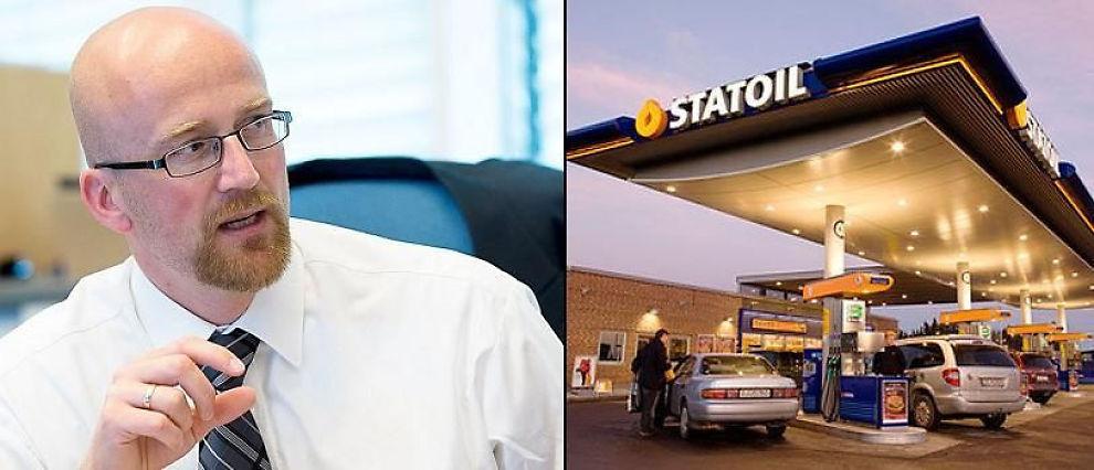 STOR FORSKJELL: Oljeanalytiker Torbjørn Kjus har beregnet at en liter blyfri 95 skal koste 13,68 kroner, mens Statoil-stasjonene har en listepris på 14,23 kroner.