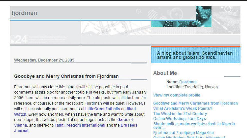 STÅR FREM: Bloggeren bak pseudonymet Fjordman.