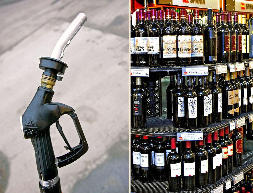 TREKKER OPP PRISENE: Bensin og alkohol har det siste året blitt dyrere.