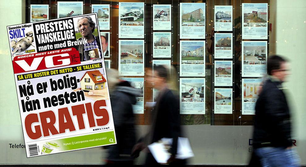 <p>POPULÆRT TEMA: Oppslag i media kan drive prisene i boligmarkedet både opp og ned. Her ser vi tirsdagens utgave av VG.</p>