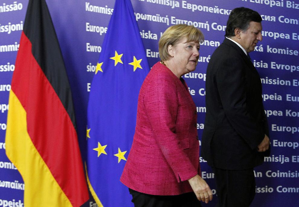 HAR EN VEI Å GÅ: Angela Merkel og EU-sjef Jose Manuel Barroso må etablere tyske vaner i hele Europa.