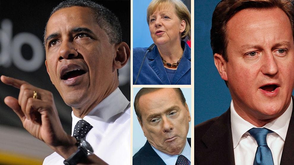 DISSE SKYLDER OSS PENGER: Barack Obama og USA skylder Norge 217 milliarder, Tyskland og Angela Merkel skylder oss 61 milliarder, Silvio Berlusconi og Italia har 44 milliarder i gjeld til Norge og David Cameron og Storbritannia skylder Norge 107 milliarder kroner.