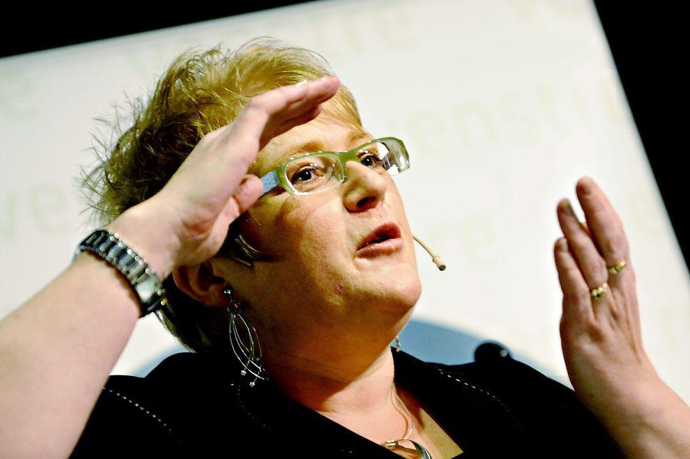 PROTESTERER: Trine Skei Grande er leder i Venstre.