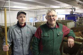 I FJØSET: Tomas Steckis (t.h.) fra Litauen holder ting i gang når Gaute Horseng trenger avlastning og ikke selv er i fjøset. Foto: EYSTEIN FISKUM HANSVIK
