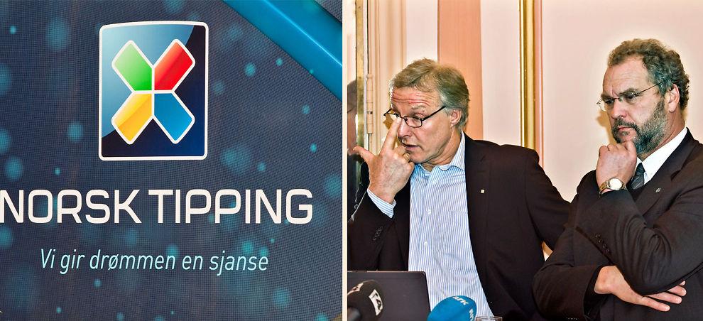 <b>HJEMMETAP:</b> Administrerende direktør Torbjørn Almlid og styreleder Lars Sponheim (t.h.) i Norsk Tipping i forbindelse med pressekonferanse angående nye opplysninger fra Riksrevisjonens utvidede revisjon av Norsk Tipping.