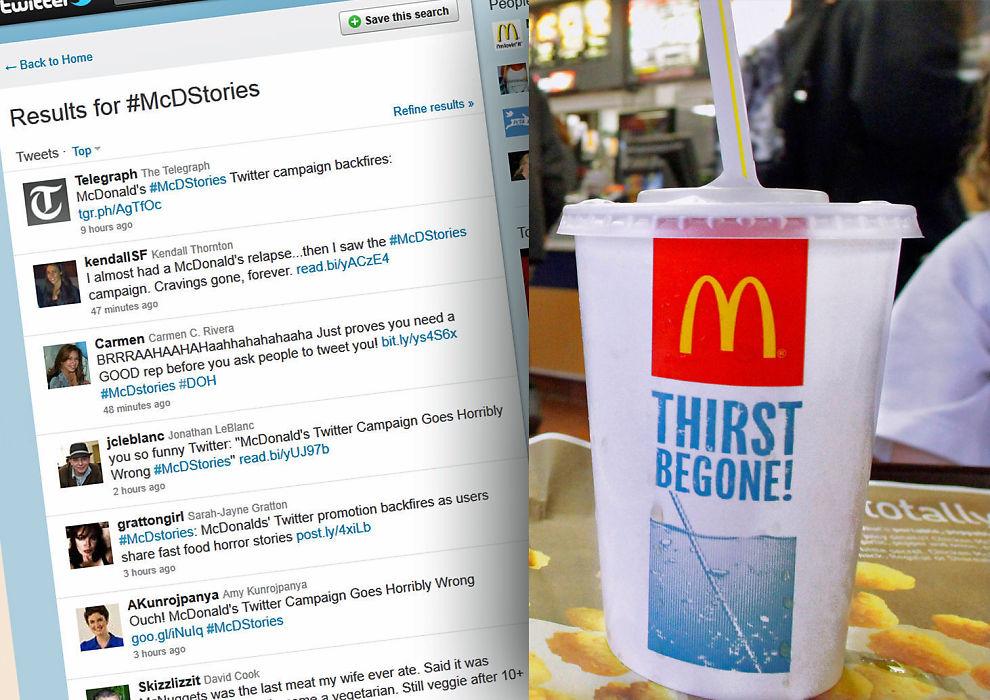 TWITTER-BOM: McDonald's feilslåtte kampanje på Twitter.