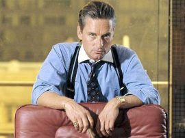 UTDØENDE RASE: Gordon Gekko, spilt av Michael Douglas, en sleikbefengt og skruppelløs investor som fikk informasjon fra overivrige meglere.