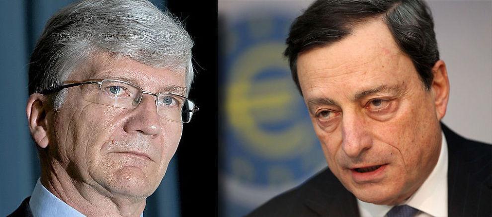 FRYKTER FOR STORE DOSER: Sjeføkonom Steinar Juel i Nordea (til venstre) er redd for at sentralbanksjef i Den europeiske sentralbanken (ESB), Mario Draghi (til høyre), tilbyr markedet for mye likviditet. Det kan få politikerne til å avblåse krisen, og unngå å gjøre upopulære kutt.