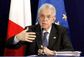 RYDDER OPP: Italias statsminister Mario Monti er har hjulpet Italia med å gjenvinne mye tillit i kredittmarkedet. Dersom rentene faller videre, kan parlamentet bli fristet til å tro at jobben er gjort, frykter Steinar Juel. Her er Monti avbildet under et EU-møte i Brussel 2. mars 2012.