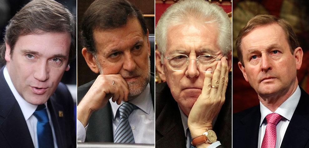 GJØR SOM HELLAS: Sjeføkonom Jan Andreassen tror disse kommer til å gjøre som Hellas. Fra venstre: Portugals statsminister Pedro Passos Coelho, Spanias statsminister Mariano Rajoy, Italias statsminister Mario Monti og Irlands statsminister Enda Kenny.