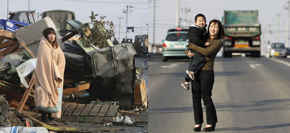 GJENREIST: Yuko Sugimoto her fotografert på samme sted 13. mars 2011 i bildet til venstre og 26. februar 2012. Bildene av Sugimoto har blitt et symbol for Japans gjenoppbygging etter jordskjelvet og tsunamien.