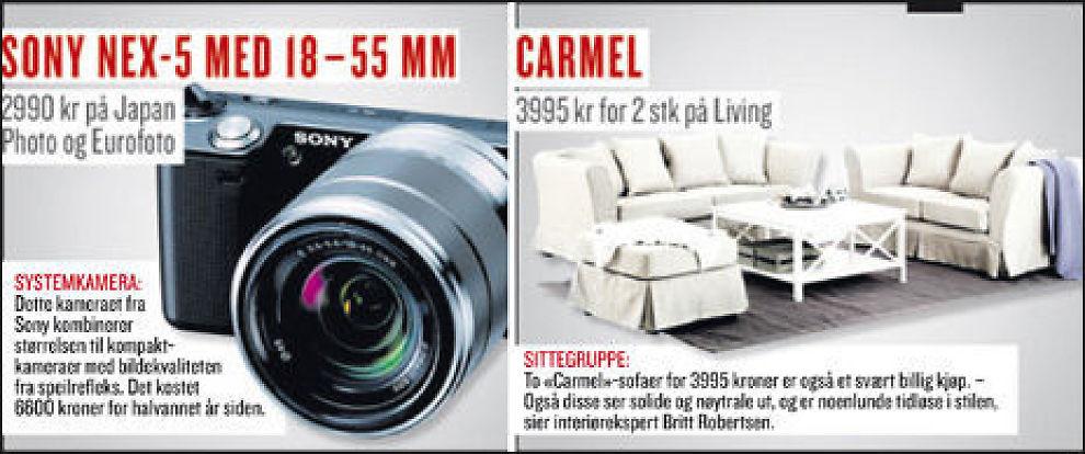 RØVERKJØP: Hva med et nytt kamera eller en splitter ny sofagruppe? Det er penger å spare på smart handel i januar. Foto: Faksimile VG