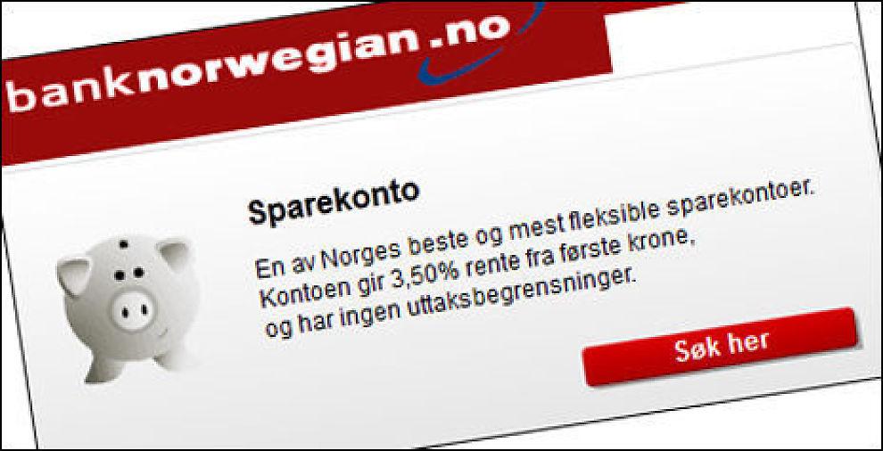 VINNER: Bank Norwegian deler seieren med sparesmart.no i klasen for mindre innskudd i årets Bank-NM. Faksimile fra banknorwegian.no