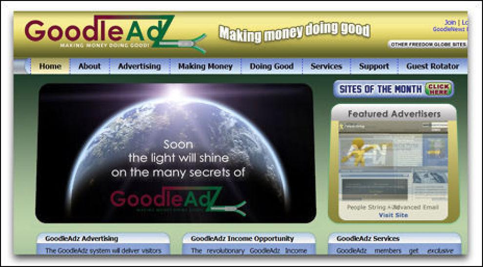 SKAL SKINNE: GoodleAdz lokker meg superavkastning for å verve medlemmer. Faksimile: goodleadz.com