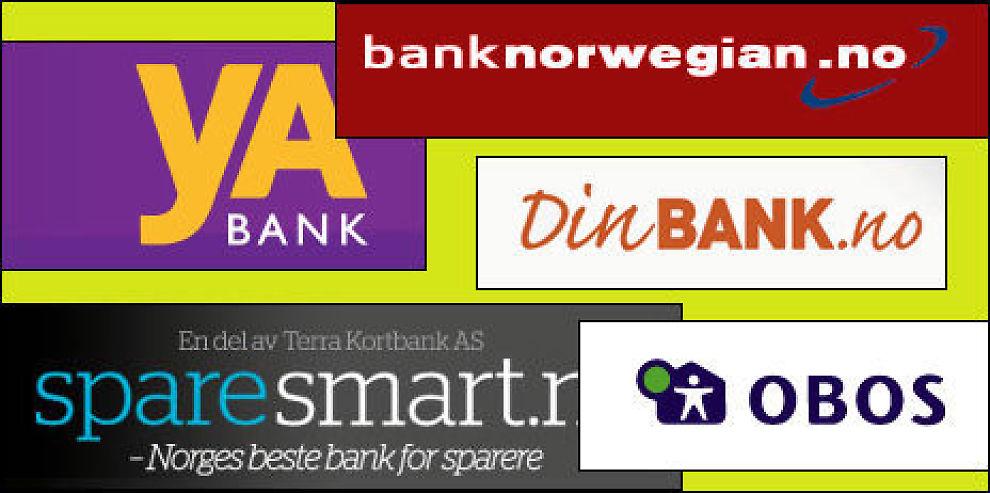 VINNERE: yA Bank, sparesmart.no, Bank Norwegian, OBOS og DinBANK er årets vinnere i Dine Pengers Bank-NM.