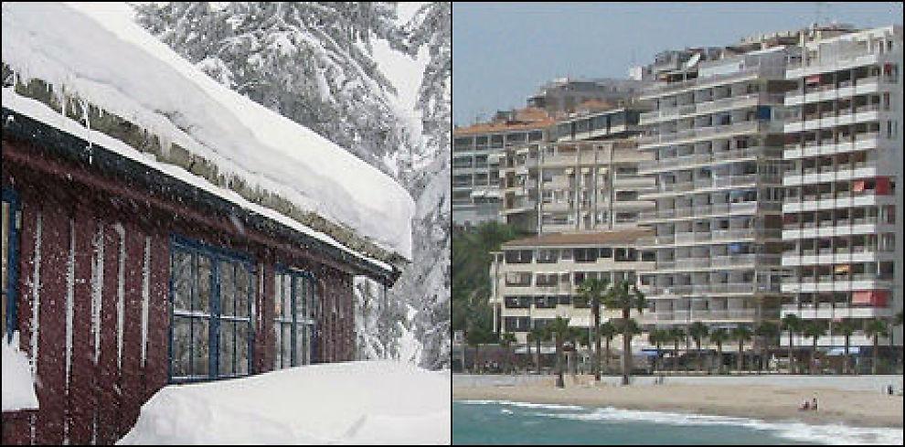 NORGE - SPANIA: Det koster så å si det samme å ha en hytte i Norge som en feriebolig i Spania. Foto: Caroline Sesvold Tørring.