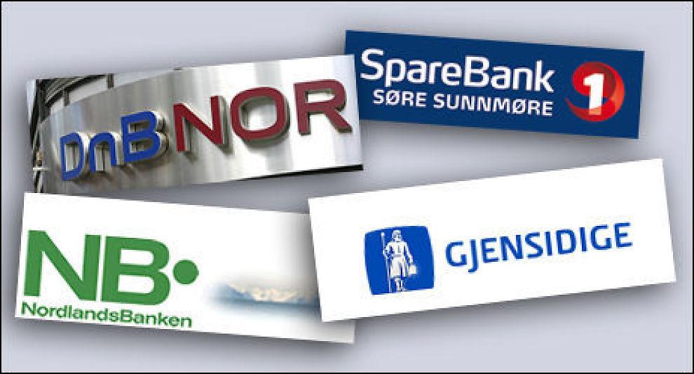 MÅ ENDRE: DnB NOR, Nordlandsbanken, Gjensidige Bank og SpareBank 1 Søre Sunnmøre er blant bankene som må endre kundeprogrammene. Montasje: Dine Penger