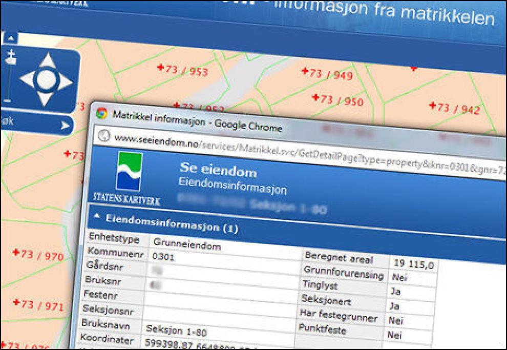 Nå kan du søke gratis i Kartverkets nye nettjeneste «Se eiendom». Faksimile: Statens kartverk.