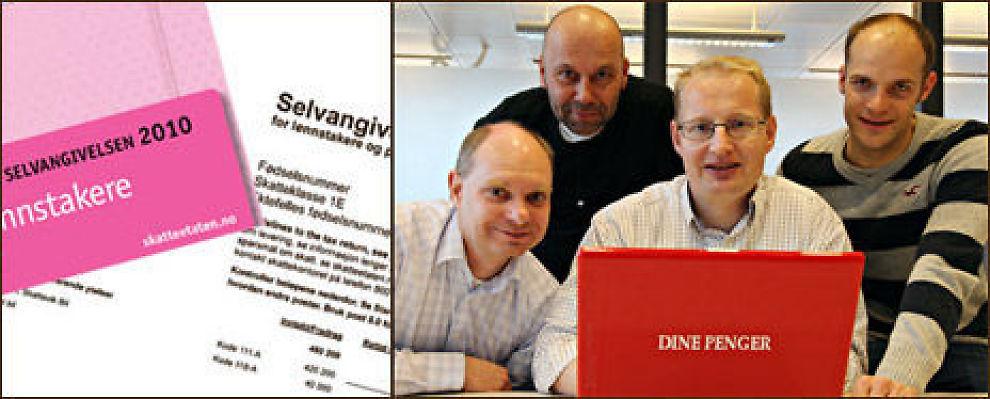 Dine Pengers skatteeksperter f.v. Øyvind Røst, Günther Bache, Carsten Henrik Pihl og Richard Nodeland. Foto: Skatteetaten/Knut Erik Knudsen, VG