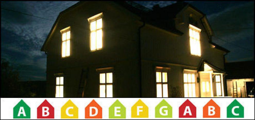 POSITIVE: Skal man tro resultatene i en fersk undersøkelse, har energimerking betydning for boligkjøpere. Foto: Colourbox/Montasje: Dine Penger