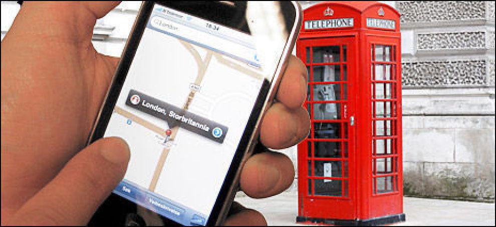 I utlandet er datatrafikk på mobil kostbar. Nesten alle apps på iPhone kobler seg opp til internett. Her en montasje som illustrerer bruk av karttjenesten på iPhone i London. Foto: Illustrasjonsfoto: Colourbox / Montasje: Johan Nordstrøm, Dine Penger