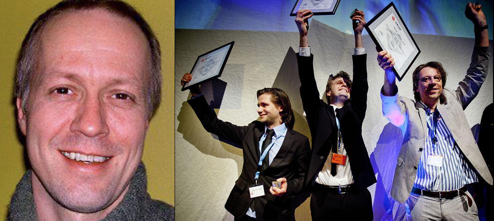 Steinar Figved, Robin Idland Krüger og Asbjørn Øyhovden i TV2-Nyhetene får SKUP-prisen 2010 for «Eldrebløffen». Til venstre Per Arne Kalbakk i NRK.
