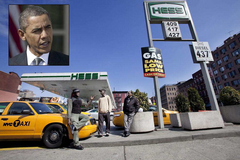 IKKE PUMPULÆRT: Drosjeeierne i New York fortviler. Amerikanere betaler litt over seks kroner per liter for bensin, noe som er uvanlig høyt. Det kan avgjøre valgkampen.