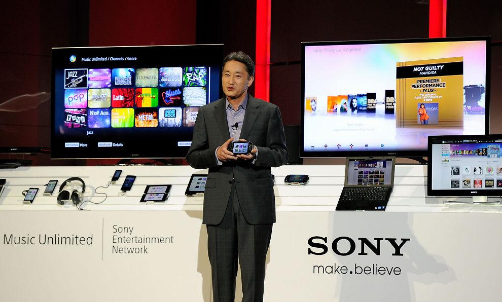 STORE AMBISJONER: Sony-sjef Kazuo Hirai snakker om den nye musikktjenesten under en konferanse i januar.