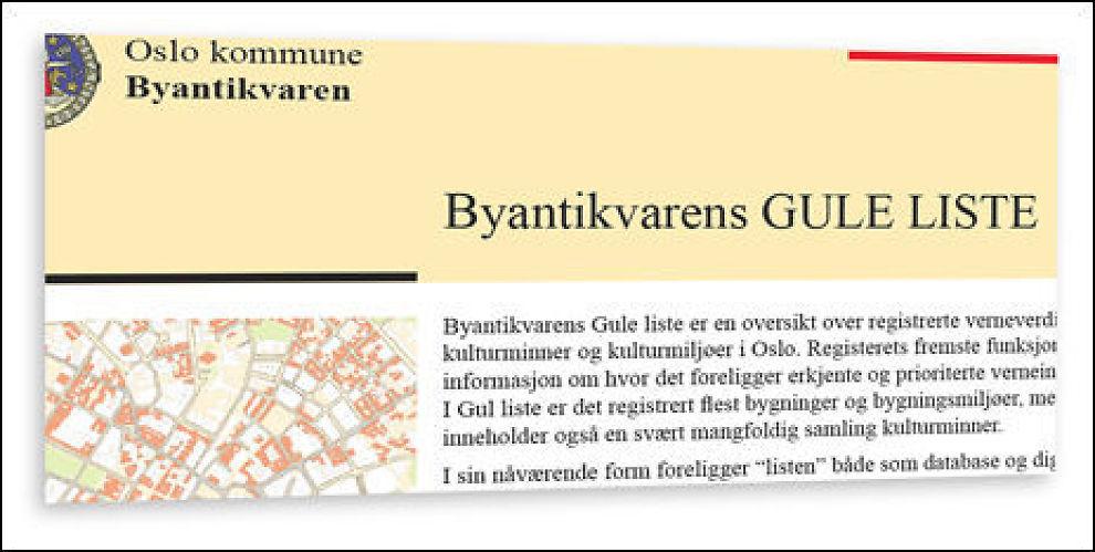 GUL LISTE: Eiendommen som ble solgt sto på Oslo Byantikvarens liste. Faksimile: Byantikvaren