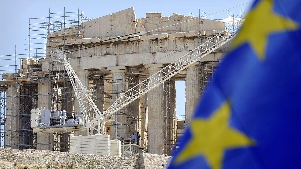 ANSTRENGT FORHOLD: Forholdet mellom EU og Hellas er under press etter valget på søndag. Hvis ikke Hellas følger opp avtalte sparetiltak kan landet risikere full stopp i utbetalinger fra IMF og EU.