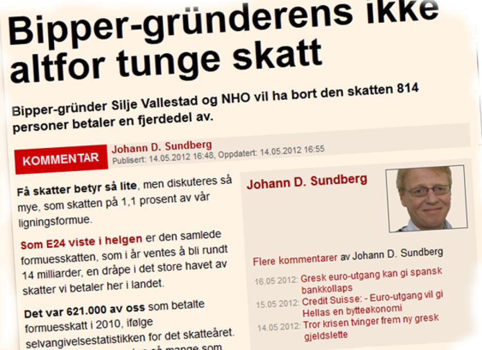 SKATTET: E24s Johann D. Sundberg reagerte på Bipper-gründer Silje Vallestad uttalelser om at hun vurderer å flagge ut på grunn av formueskatten.
