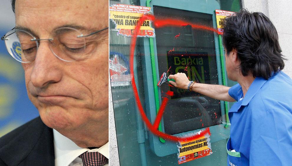 KALD SKULDER: Spania blir møtt med en kald skulder av Den europeiske sentralbanken (ESB) i sitt forsøk på å redde krisebanken Bankia.