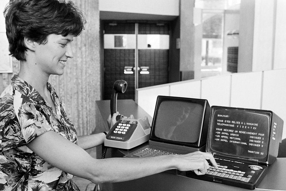 Dette bildet er tatt 9. august 1979 og viser en Minitel prototype. Det var franskmennenes forgjenger til internet.