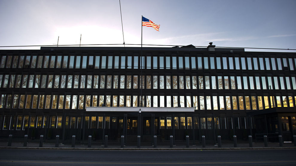 AMBASSADEN I OSLO: På den amerikanske ambassaden vil de ikke at de ansatte skal melde seg inn i fagforeninger.