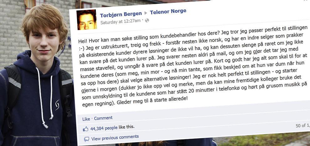 POPULÆRT INNLEGG: Torbjørn Bergen skrev en noe sarkastisk jobbsøknad til Telenor. Meldingen ble raskt en hit på Facebook.