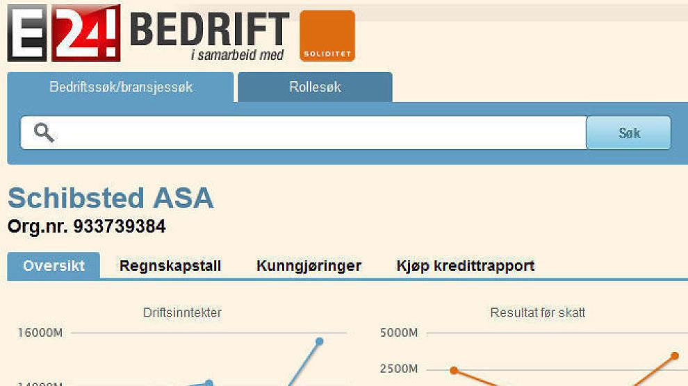<p><b>MANGE MULIGHETER:</b>I E24 Bedrift kan du blant annet søke opp bedrifter, bransjer og roller i norsk næringsliv.<br/></p>