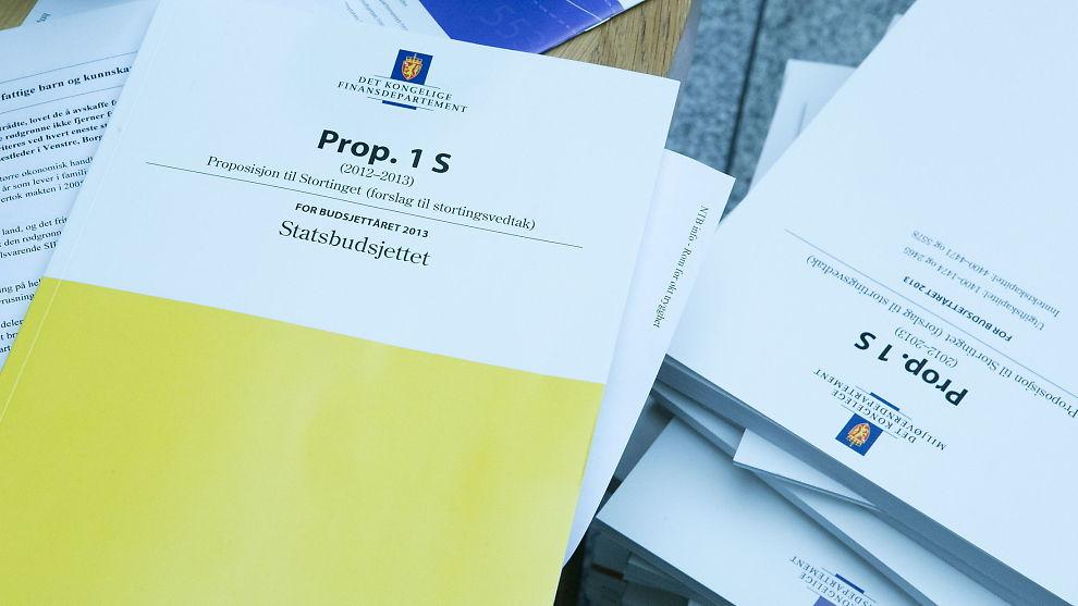 <p><b>LAGT FREM:</b> Statsbudsjettet for 2013 på Stortinget mandag.<br/></p>