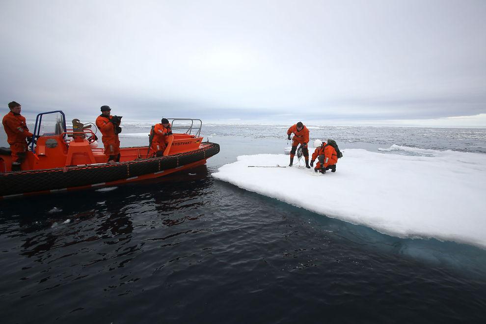 <p><b>UTE I FELTEN:</b> Her er Kongsberg Maritimes folk ute og tester en såkalt «upward looking echosounder» som måler istykkelse under vann. På bildet er blant andre Tony Haugen og David Hagen ute på tokt i drivisen i august sammen med Kystvaktskipet Svalbard.</p>