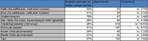 <p><b>Her går pengene:</b> Tabellen viser ulike sløsepunkter, hvor mange kroner som brukes i snitt i uken av de som bruker, og hvor mye det utgjør i året. Spørreundersøkelsen er gjennomført av TNS Gallup for Nordea i November 2012. 1010 respondenter mellom 18 og 65 år har svart via internett.</p>