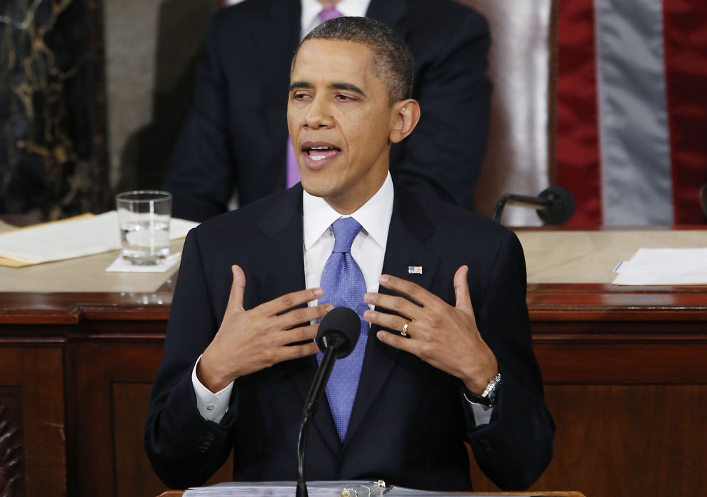 <p><b>RIKETS TILSTAND:</b> - Vi trenger ikke en større stat, men en smartere stat som legger prioriteringer og investerer i bred økonomisk vekst, sa president Barack Obama i Kongressen natt til onsdag norsk tid.<br/></p>