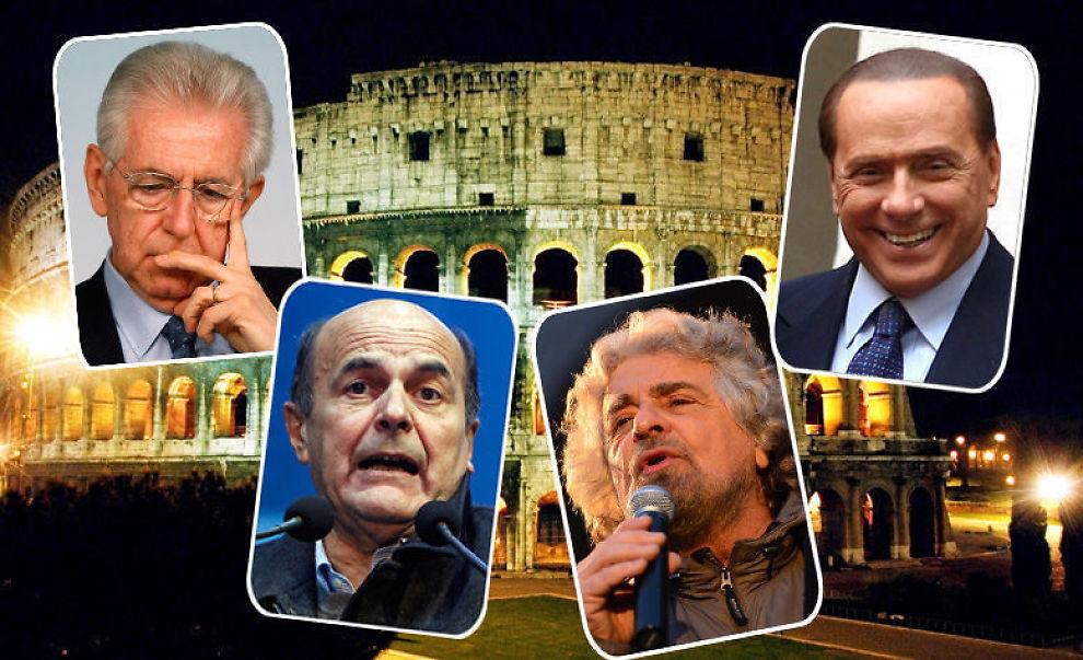<p><b>VALGDUELL:</b> Mario Monti, Pier Luigi Besani, Beppe Grillo og Silvio Berlusconi er det heteste kandidatene til å bli Italias nye statsminister.<br/></p>