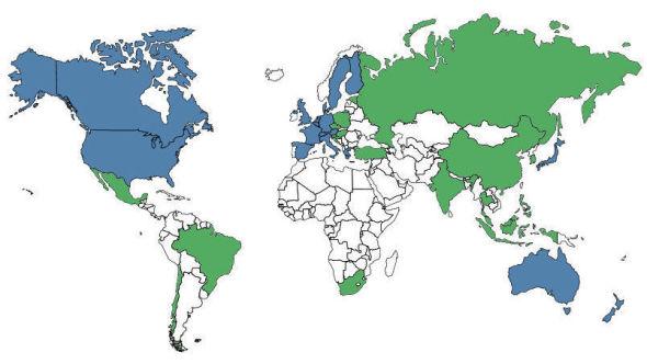 NYE LAND: Landene i blått er de hvor Oljefondet hadde investert i statsobligasjoner ved utgangen av 2010. Landene i grønt er de hvor Oljefondet har investert i statsobligasjoner i løpet av 2011 og 2012.