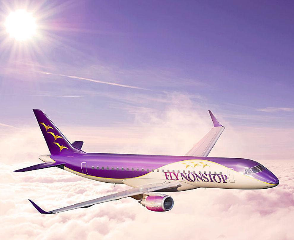 <p><b>FLYNONSTOP:</b> Espen Hennig-Olsens nye selskap skal benytte seg av flytypen Embraer 190 til destinasjoner som London, Paris og Nice.</p>