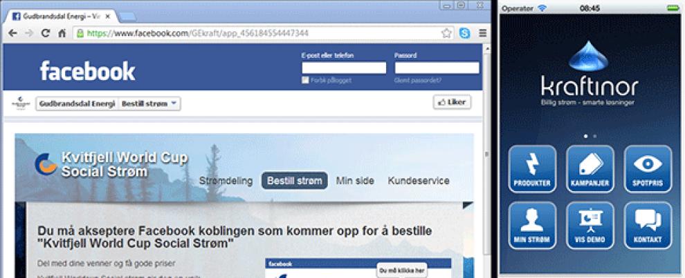 <p>Kraftleverandørene Gudbrandsdal Energi og Kraftinor tilbyr nå landets billigste kraftavtaler via hhv. Facebook og mobilapp.</p>