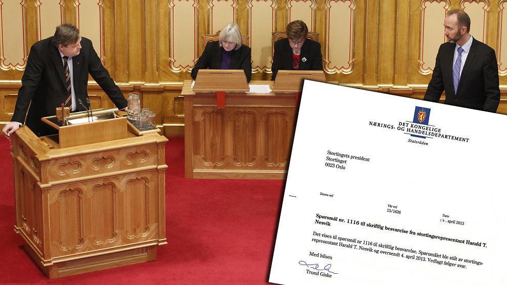 <p><b>MILLIARDENE FRA INNOVASJON NORGE:</b> Frp-representant Harald Tom Nesvik krever klare svar fra nærings- og handelsminister Trond Giske (til høyre). Det fikk han ikke i brevet (innfelt).<br/></p>